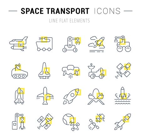 Set of  line icons and signs with yellow squares of space transport for excellent concepts. Illustration