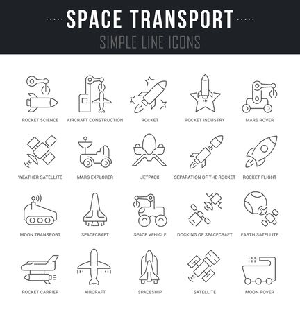 Collection linear icons of space transport with names. Illustration