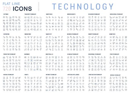 A big set of technology linear icons. Technological developments in various industries. Icons for websites, applications and creative projects.