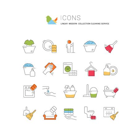 Collection of linear modern icons of cleaning service with colored elements. Icons for infographics and websites