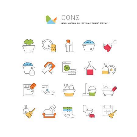 Sammlung linearer moderner Ikonen des Reinigungsdienstes mit farbigen Elementen. Symbole für Infografiken und Websites Standard-Bild