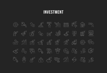 Set of vector line icons of investment for modern concepts, web and apps. Collection of infographics logos and pictograms. 写真素材