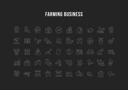 Collection linear icons of farming business