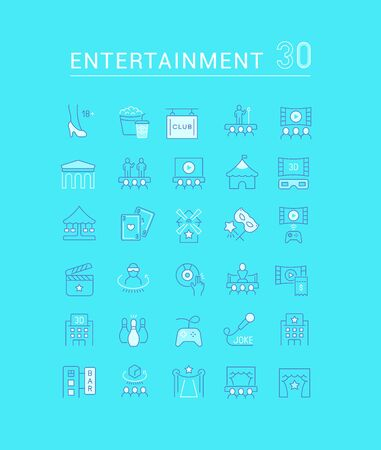 Set of vector line icons of entertainment for modern concepts, web and apps.
