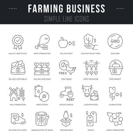 Collection linear icons of farming business with names