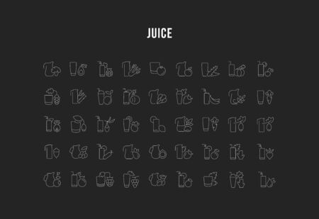 Set of vector line icons, sign and symbols of juices for modern concepts, web and apps. Collection of infographics elements, logos and pictograms.