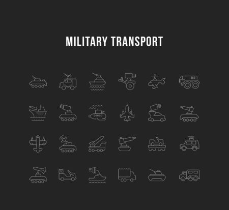 Set of vector line icons, sign and symbols of military transport for modern concepts, web and apps. Collection of infographics elements, logos and pictograms.