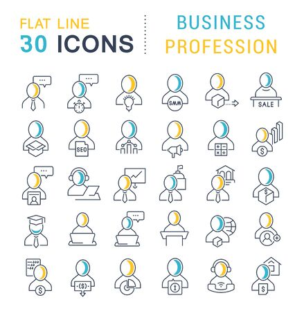 Set of linear icons with colored elements of business profession for websites, applications and programs Foto de archivo