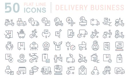 Set of vector line icons of delivery business for modern concepts, web and apps.