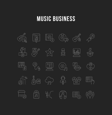 Set of vector line icons of music business for modern concepts, web and apps. 版權商用圖片