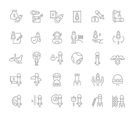 Satz von Vektorliniensymbolen des Weltraumgeschäfts für moderne Konzepte, Web und Apps.