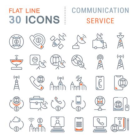 Set of vector line icons of communication service for modern concepts, web and apps. Standard-Bild