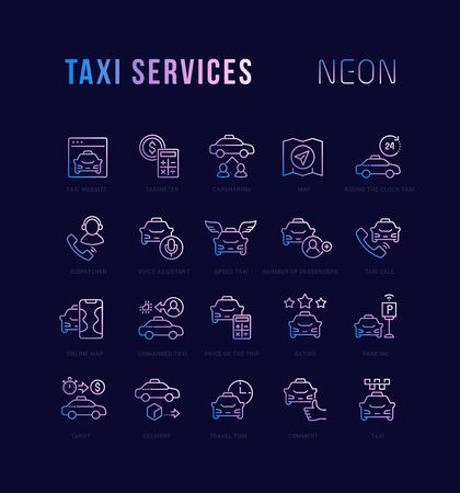 Collection of neon linear icons with names. Gradient icons of taxi services for infographics and websites Stok Fotoğraf