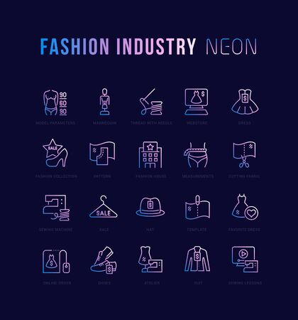 Collection of neon linear icons with names. Gradient icons of fashion industry for infographics and websites 스톡 콘텐츠