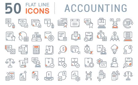 Zestaw ikon linii wektora rachunkowości dla nowoczesnych koncepcji, sieci i aplikacji. Zdjęcie Seryjne