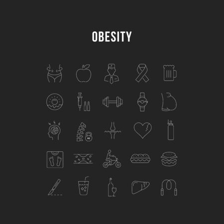 Set vector line icons in flat design obesity, junk food and health with elements for mobile concepts and web apps. Collection modern infographic logo and pictogram. Imagens