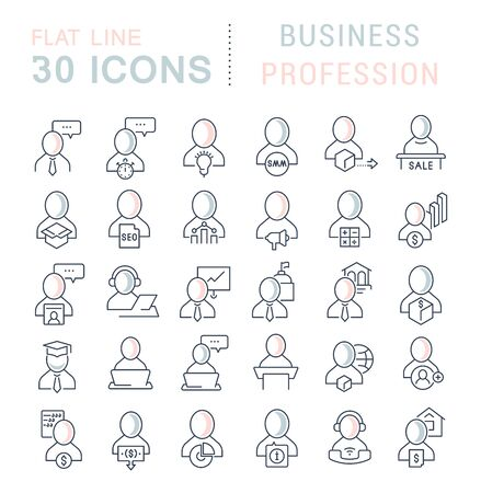 Set of linear icons with colored elements of business profession for websites, applications and programs