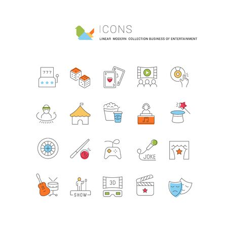 Modern linear icons of entertainment business Banque d'images
