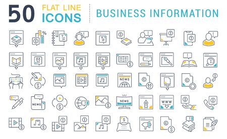 Set of vector line icons of business information for modern concepts, web and apps.