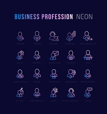 Collection of neon linear icons with names. Gradient icons of business profession for infographics and websites Stock fotó
