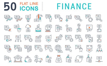 Set of vector line icons of finance for modern concepts, web and apps. Stock Photo