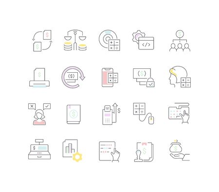 Set of vector line icons of accounting with color element
