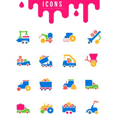 Collection simple icons of agricultural machinery on a white background. Modern black and white signs for websites, mobile apps, and concepts Illustration