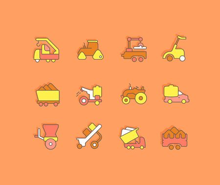 Collection simple icons of agricultural machinery on an orange background. Modern color signs for websites, mobile apps, and concepts