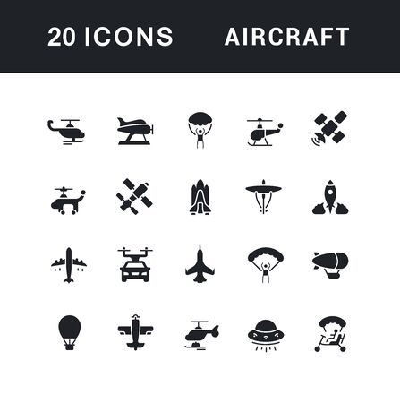 Collection simple icons of aircraft on a white background. Modern black and white signs for websites, mobile apps, and concepts Ilustracja