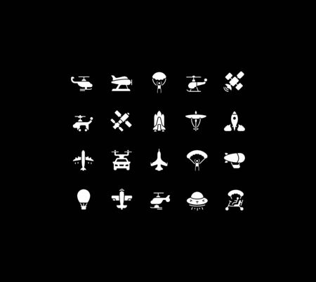 Collection simple icons of aircraft on a black background. Modern white signs for websites, mobile apps, and concepts