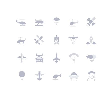 Collection simple icons of aircraft on a white background. Modern gray shadows signs for websites, mobile apps, and concepts
