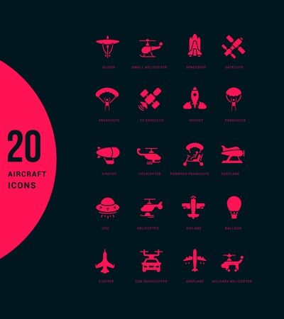 Collection simple icons of aircraft on a black background. Modern red signs for websites, mobile apps, and concepts