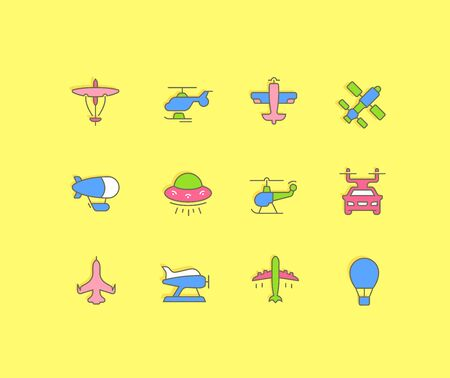 Collection simple icons of aircraft on a yellow background. Modern color signs for websites, mobile apps, and concepts Ilustracja