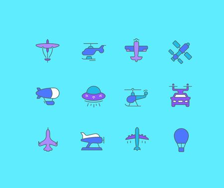 Collection simple icons of aircraft on a blue background. Modern color signs for websites, mobile apps, and concepts Ilustracja