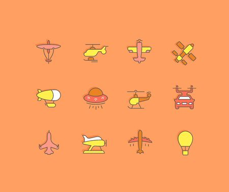 Collection simple icons of aircraft on an orange background. Modern color signs for websites, mobile apps, and concepts