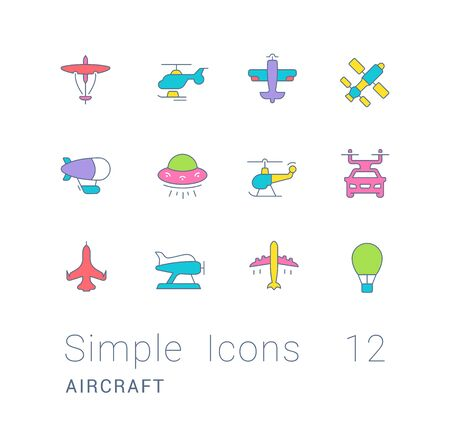 Collection simple icons of aircraft on a white background. Modern color signs for websites, mobile apps, and concepts