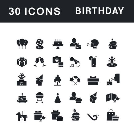 Collection simple icons of birthday on a white background. Modern black and white signs for websites, mobile apps, and concepts Foto de archivo - 135446209