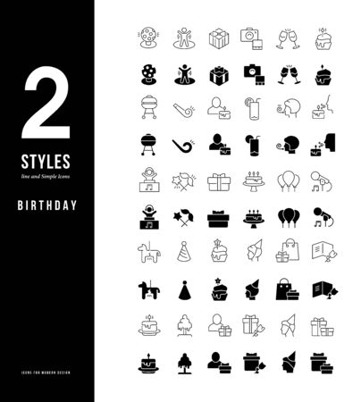 Collection simple and linear icons of birthday on a white background. Modern black and white signs for websites, mobile apps, and concepts Foto de archivo - 135446217