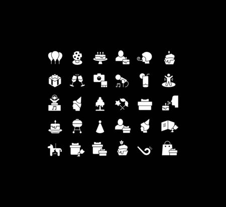 Collection simple icons of birthday on a black background. Modern white signs for websites, mobile apps, and concepts Foto de archivo - 135446227