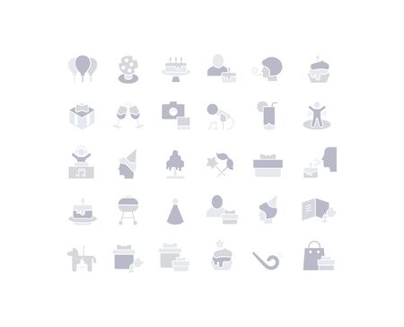 Collection simple icons of birthday on a white background. Modern gray shadows signs for websites, mobile apps, and concepts Foto de archivo - 135446231