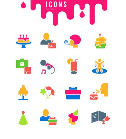 Collection simple icons of birthday on a white background. Modern black and white signs for websites, mobile apps, and concepts Foto de archivo - 135446242