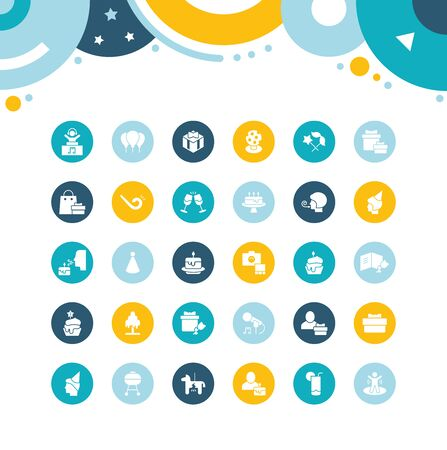 Collection simple icons of birthday on color circles. Modern white signs for websites, mobile apps, and concepts Foto de archivo - 135446248