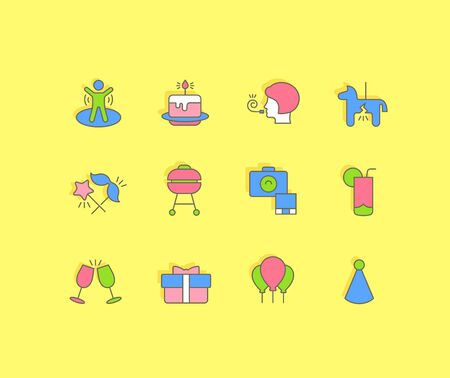Collection simple icons of birthday on a yellow background. Modern color signs for websites, mobile apps, and concepts Foto de archivo - 135446252