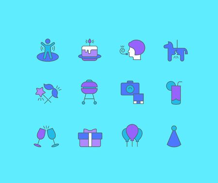 Collection simple icons of birthday on a blue background. Modern color signs for websites, mobile apps, and concepts Foto de archivo - 135446262