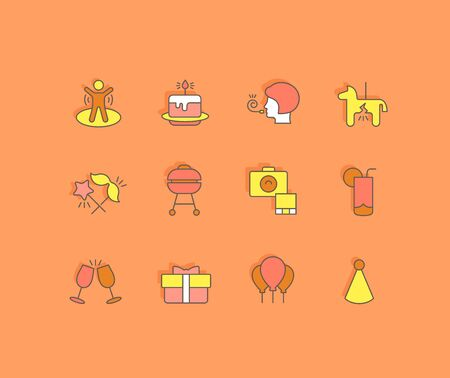 Collection simple icons of birthday on an orange background. Modern color signs for websites, mobile apps, and concepts Foto de archivo - 135446269