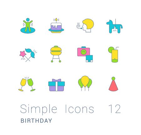 Collection simple icons of birthday on a white background. Modern color signs for websites, mobile apps, and concepts Foto de archivo - 135446273