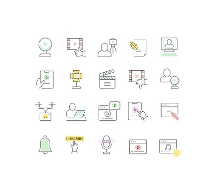 Set of vector line icons of blogging for modern concepts, web and apps. Illustration