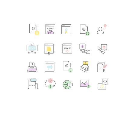 Set of vector line icons of business information for modern concepts, web and apps. Illustration