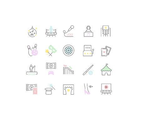 Set of vector line icons of entertainment business for modern concepts, web and apps.