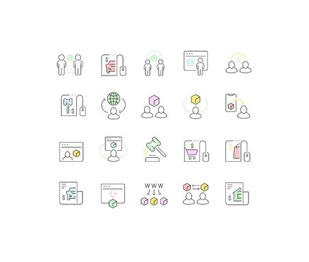 Set of vector line icons of c2c for modern concepts, web and apps.